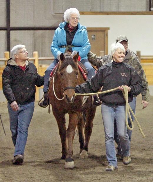 Gladys McLarnon gets a horse ride