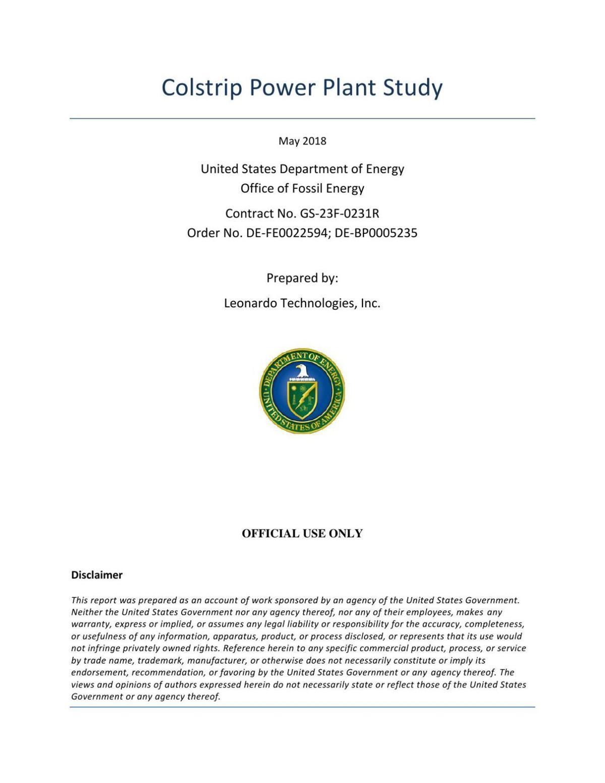 Colstrip Power Plant Study