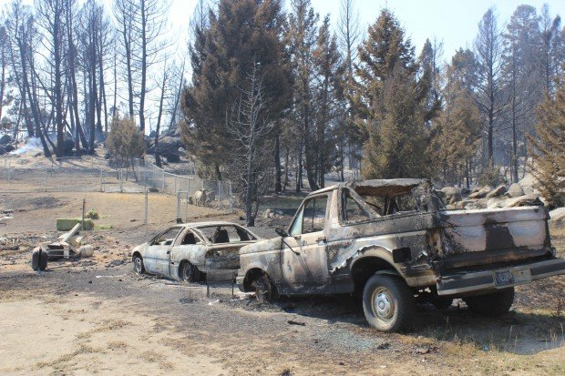 Vehicles destroyed in the 19 Mile Fire