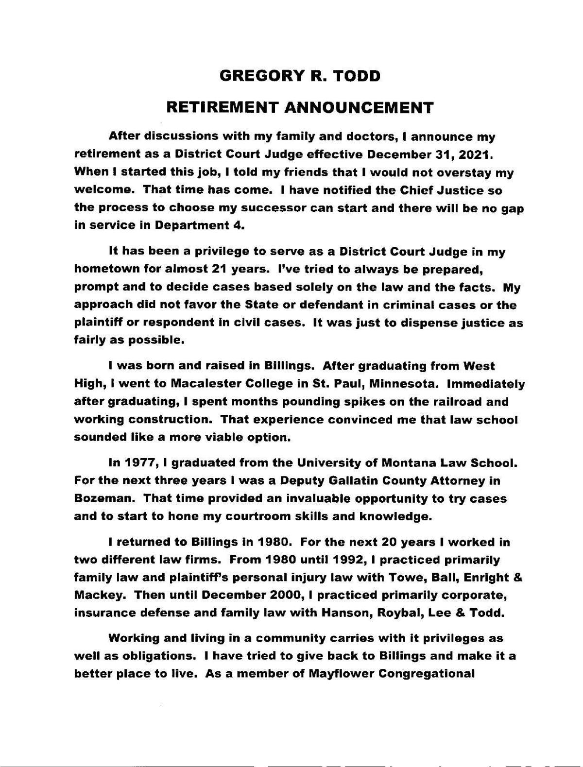 Judge Todd Retirement Announcement