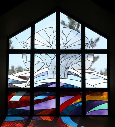 A resurrection stained glass window