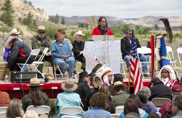 Oglala Lakota council woman Phyllis Young addresses the crowd