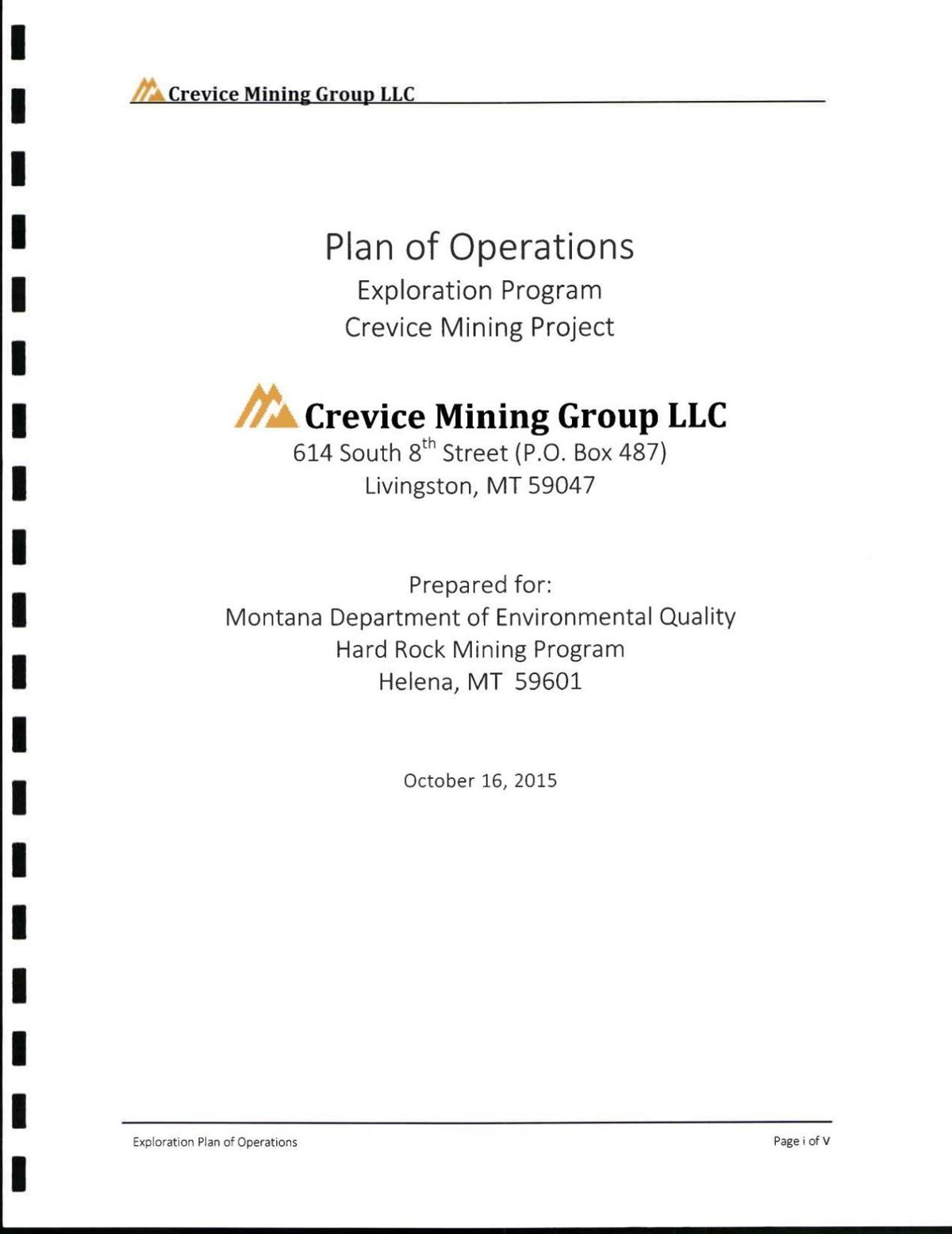 Crevice Mining plan of operations