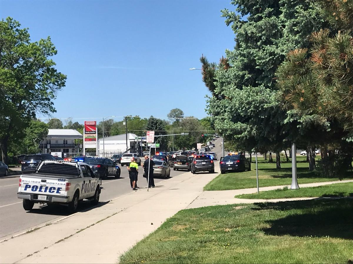 Billings police stopped a vehicle in front of Billings Senior High School