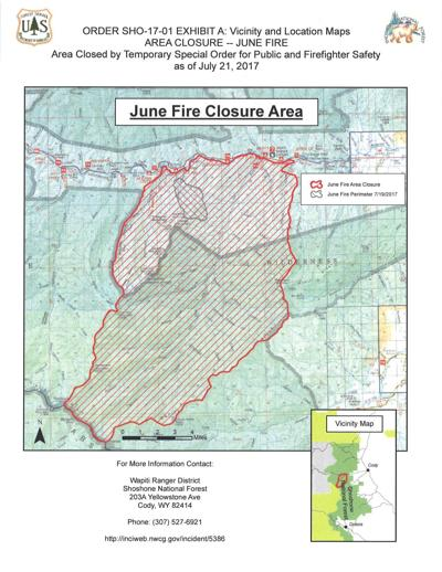 Area closure map for June fire