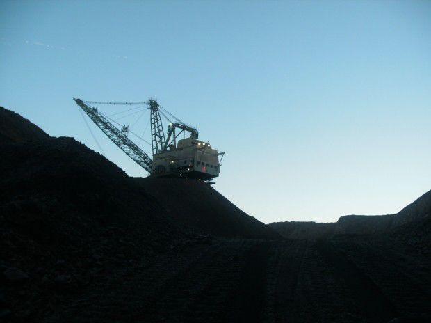 Coal mining equipment at work in Decker mine