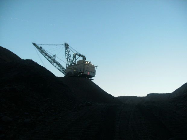 Coal mining equipment at work in Decker mine