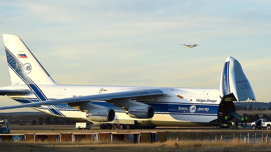 Massive Russian cargo plane at Billings airport shipping