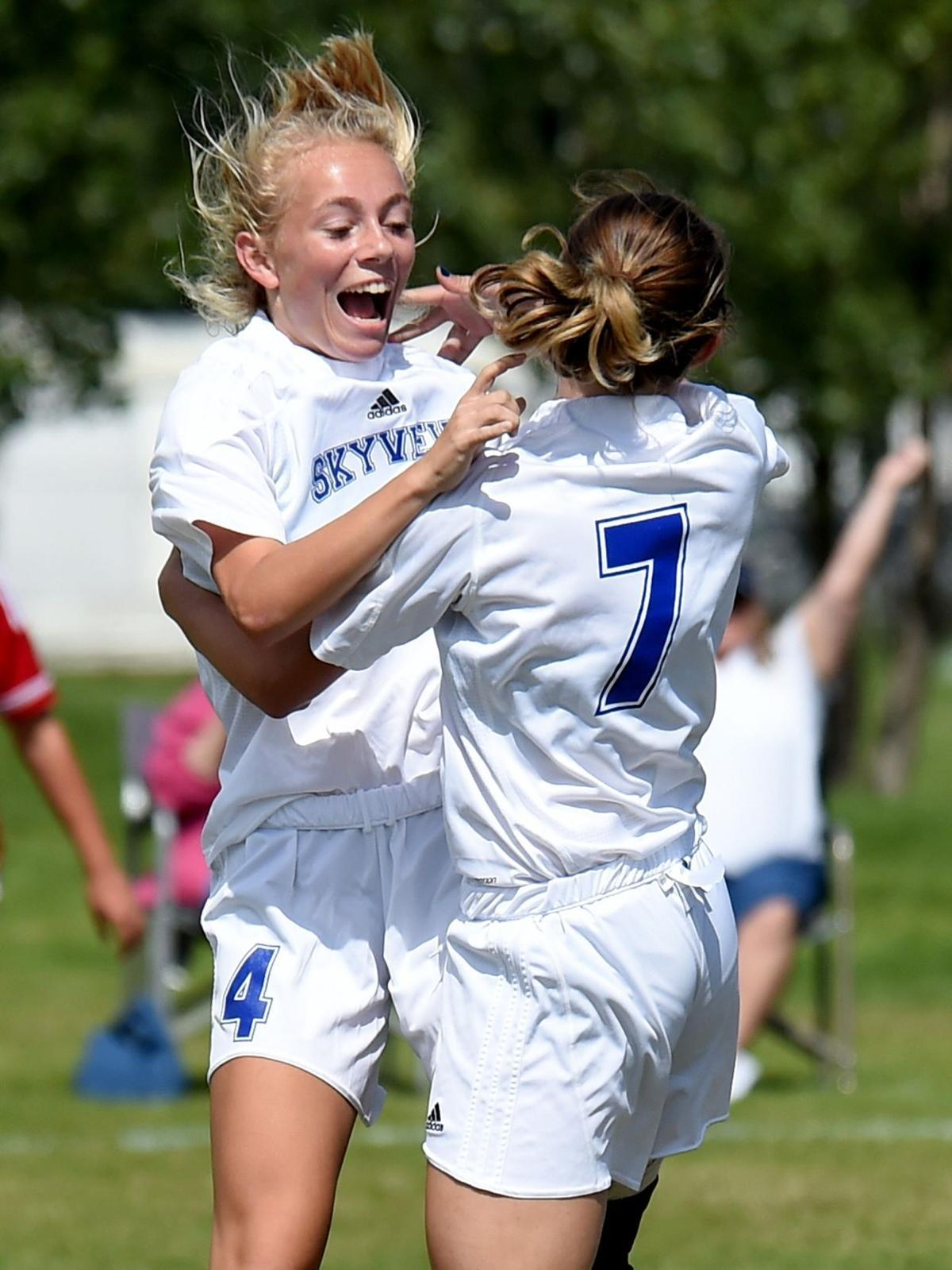 Bekah Fitzgerald and Nicole Guenthner celebrate