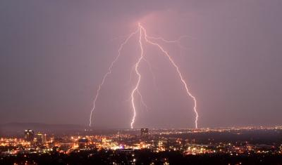 Lightning over downtown