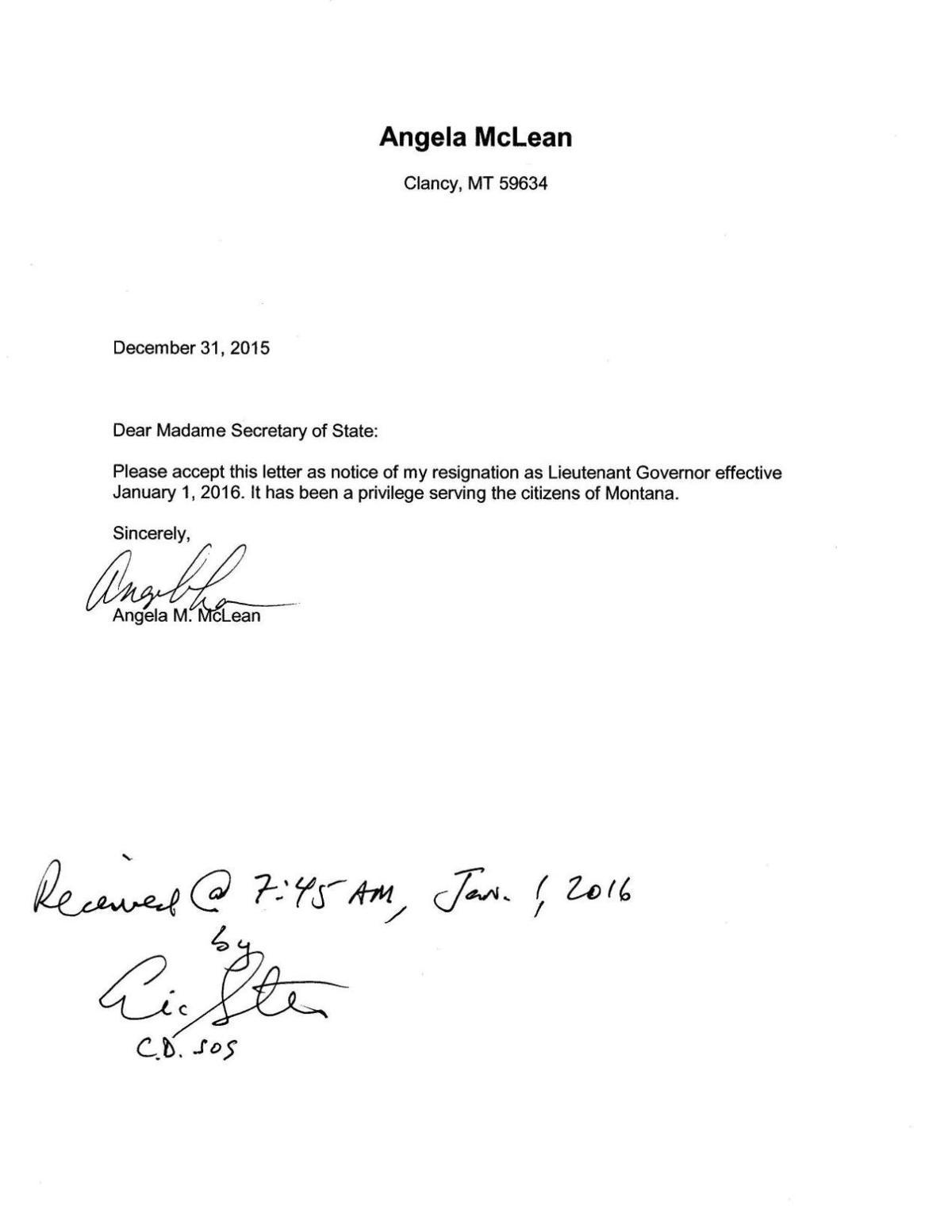 Mclean Resignation Letter