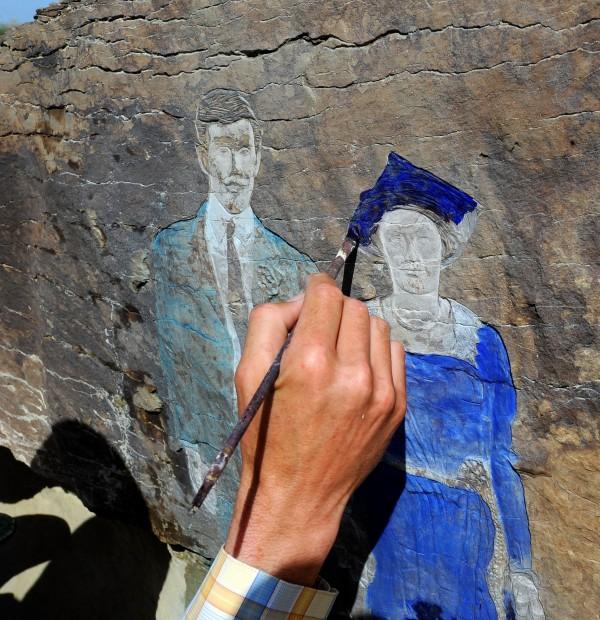 Painting petroglyph