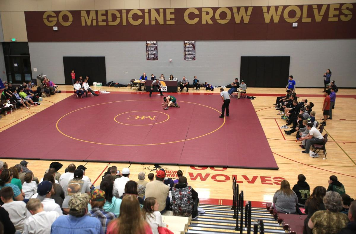 Participants at wrestling match