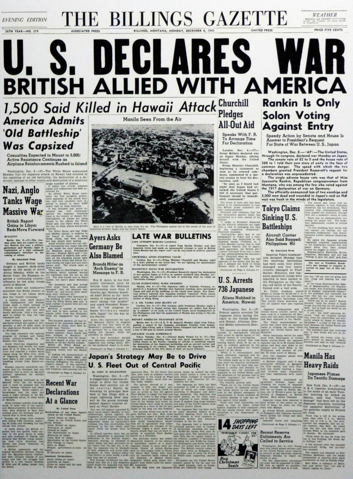 Billings Gazette Pearl Harbor Dec. 8, 1941, front page