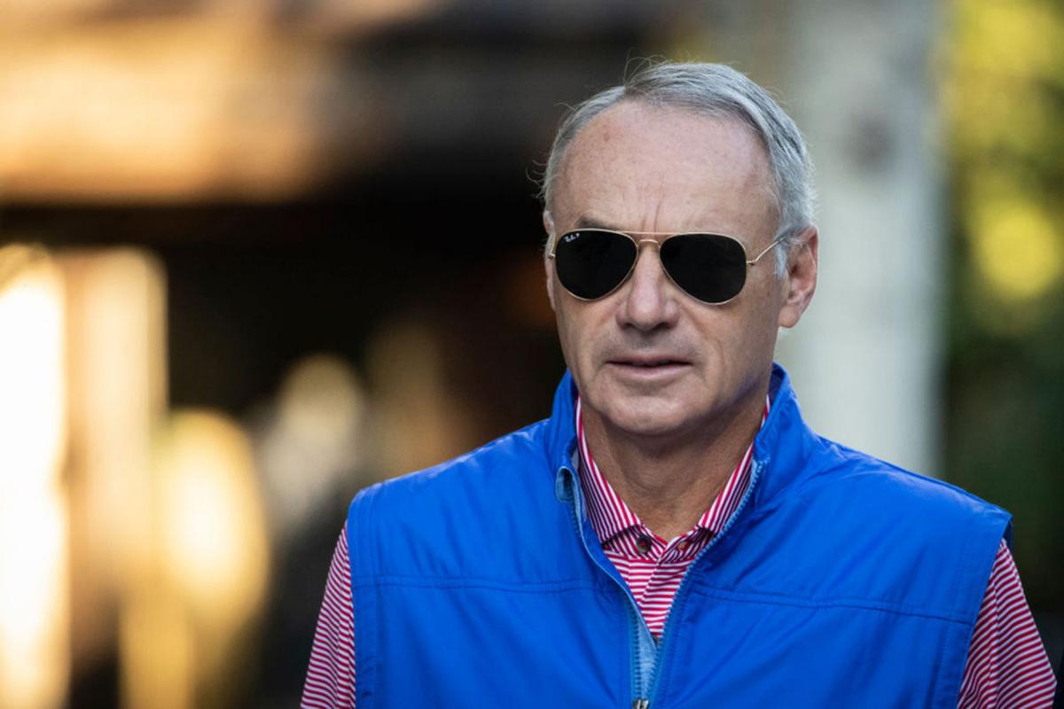 Rob Manfred, commissioner of Major League Baseball (MLB), attends the annual Allen & Company Sun Valley Conference, July 12, 2019 in Sun Valley, Idaho.