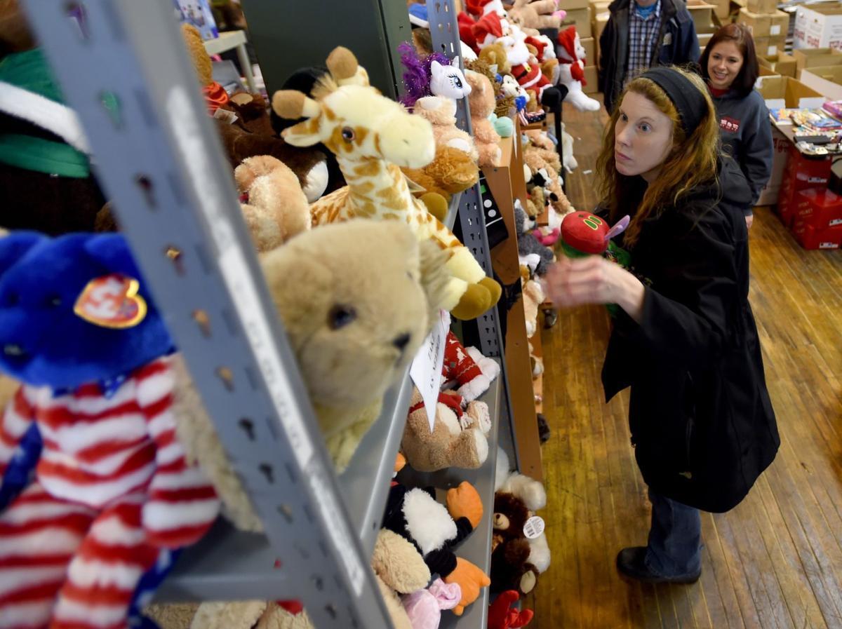 Valerie Johnson chooses stuffed animals