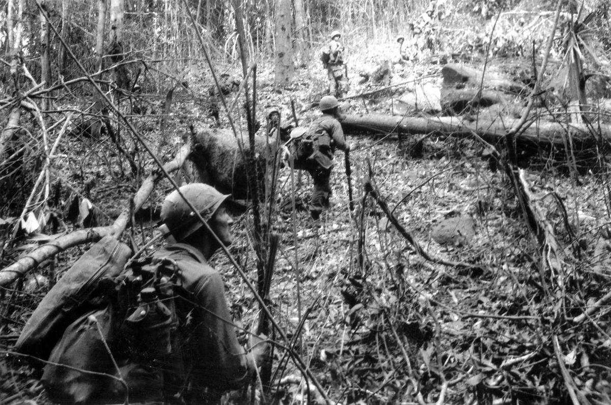 Soldiers move through the jungle