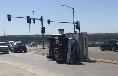 Rollover truck on Zoo Drive