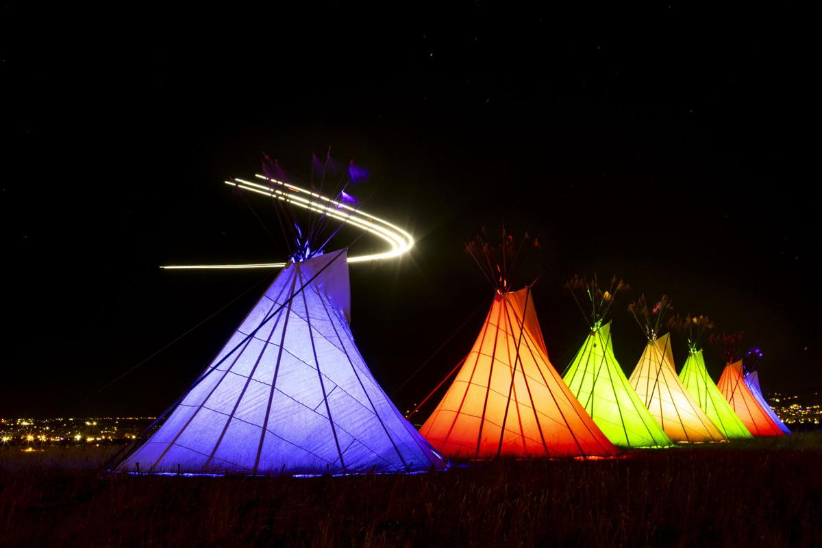 Teepees erected on Rims to honor those who have died as well as provide beacon of hope