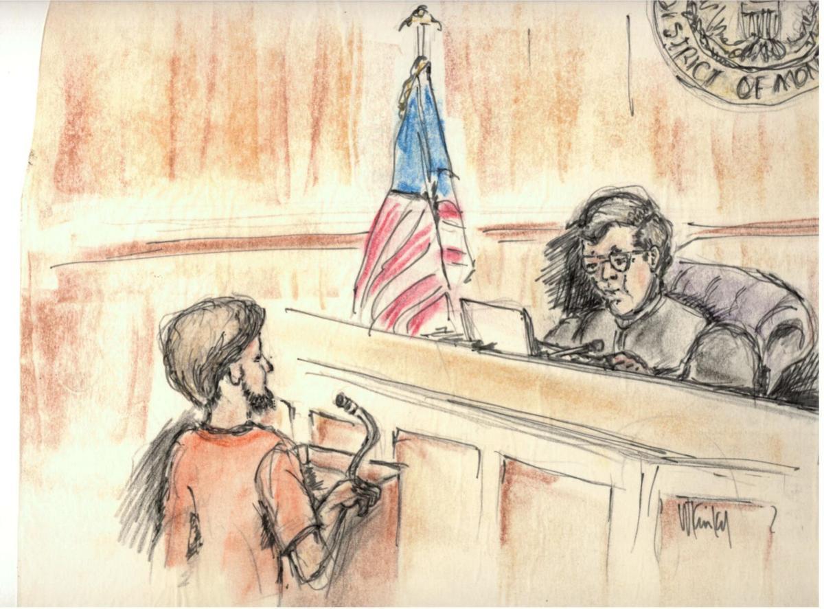 Kaczynski initial appearance drawing
