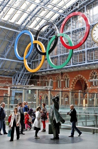 Olympic Rings are suspended from the roof of the Barlow Train Shed