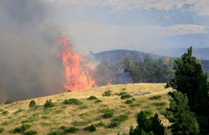 Wildfire burning near Lockwood estimated at almost 1,000 acres