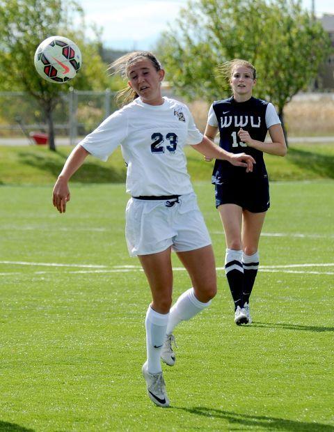 MSUB's Dana Lubieniecki heads the ball