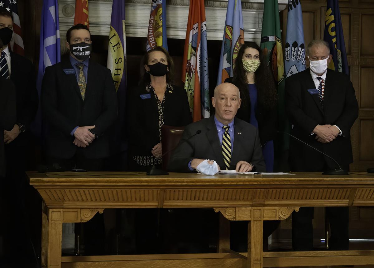 Gov. Greg Gianforte speaks before signing House Bill 102