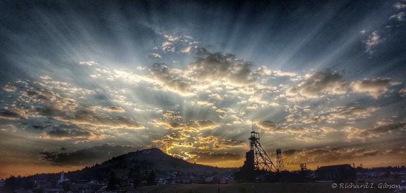 Sunset behind Big Butte