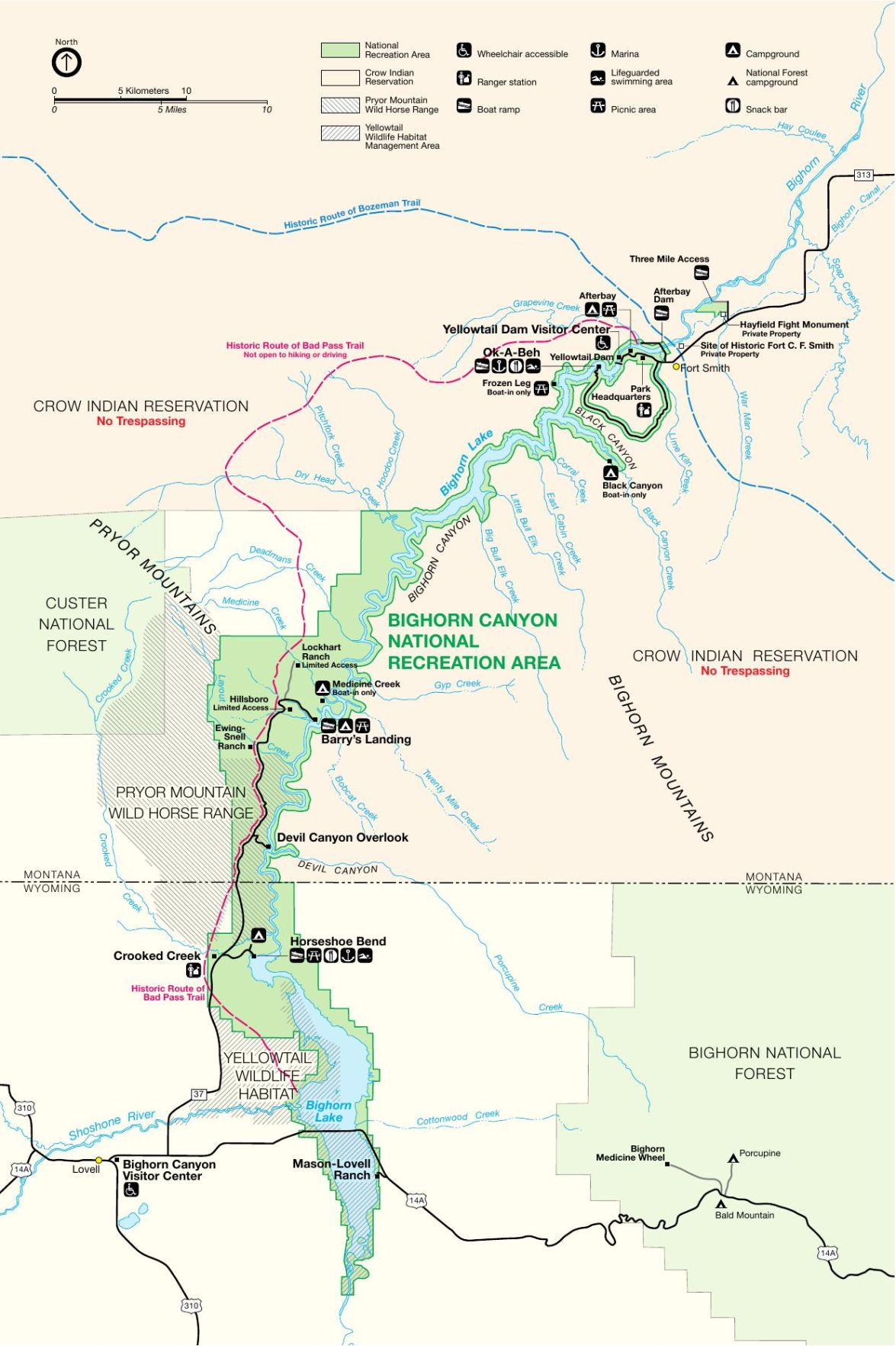 Bighorn Canyon National Recreation Area map | Montana News ...