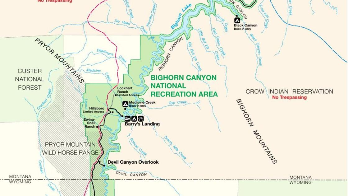 Bighorn Canyon National Recreation Area map | Montana News ...