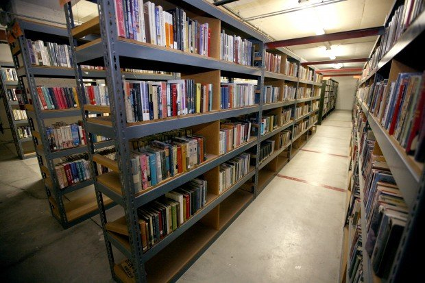 Shelves of books in the Last Copy Fiction Depository