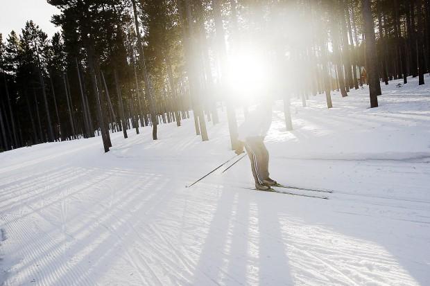A Casper Ski Team racer pushes through the snow