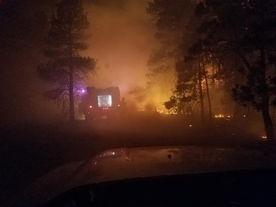 North Hills fire at night