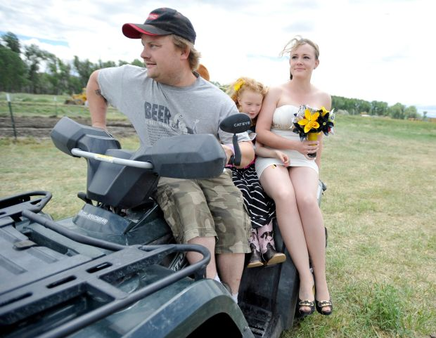 "Driving to ""the altar"" on a four-wheeler"