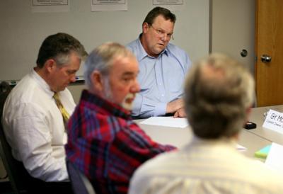 U.S. Sen. Jon Tester listens to Randy Hafer