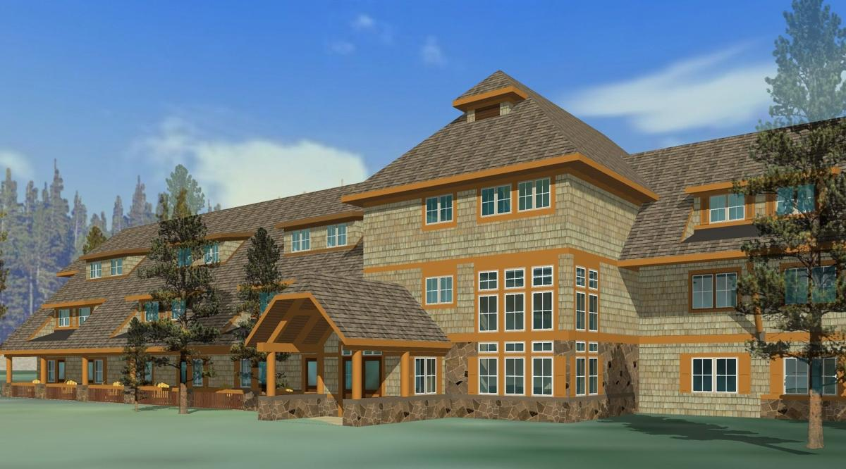 First of new yellowstone lodges open to public montana for Yellowstone log cabin hotel