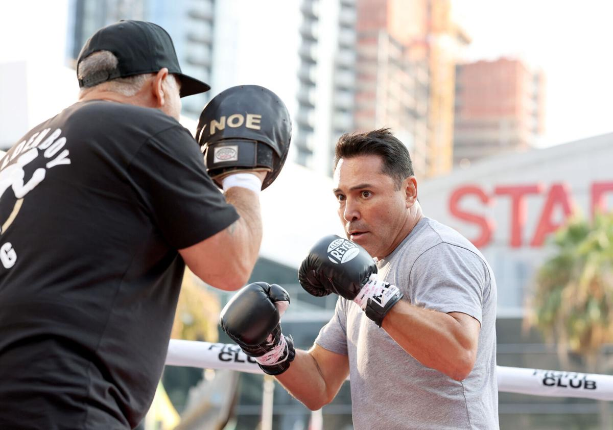"""Oscar De La Hoya during a public workout hosted by the boxing legend to promote """"The Golden Boy,"""" at XBOX Plaza in Los Angeles on August 24, 2021."""