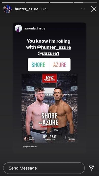 Hunter Azure April 10 fight IG story