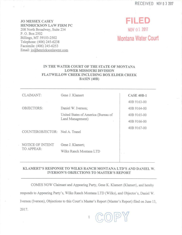 Klamert's response to objections