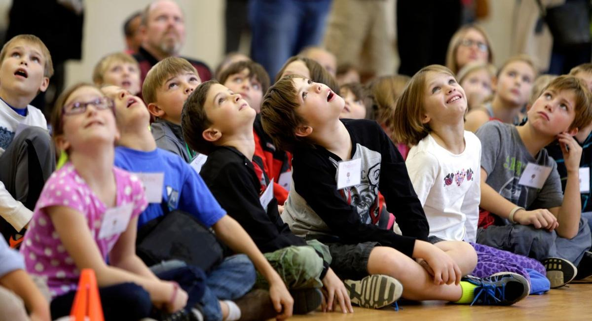 Students look up in awe