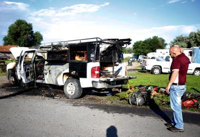 Stolen work truck found engulfed in flames near Lockwood