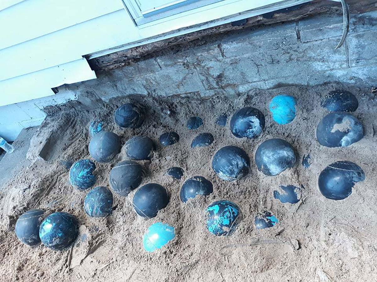 Home renovation leads to discovery of over 150 bowling balls under Michigan family's porch