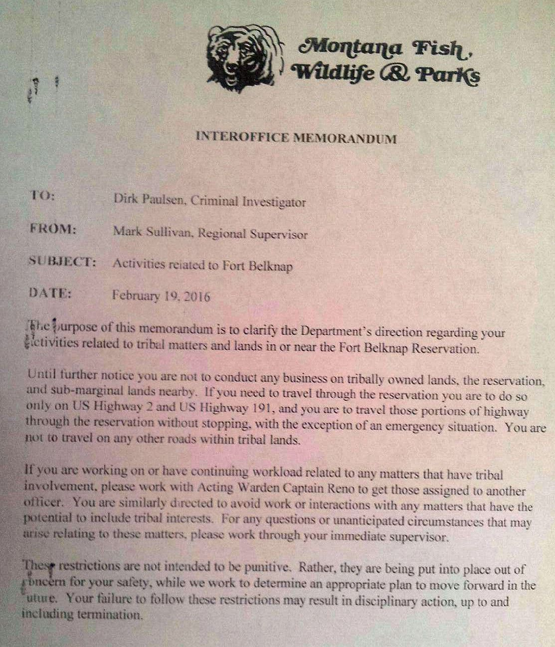 Montana blaine county hays - Letter Requires Fwp Investigator To Avoid Tribal Land Cases