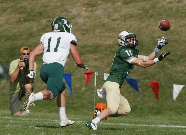 MacKenzie McGrath of Rocky Mountain College reaches for a pass