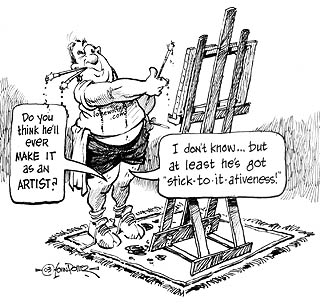 Art smarts: Persevering to paint and eat