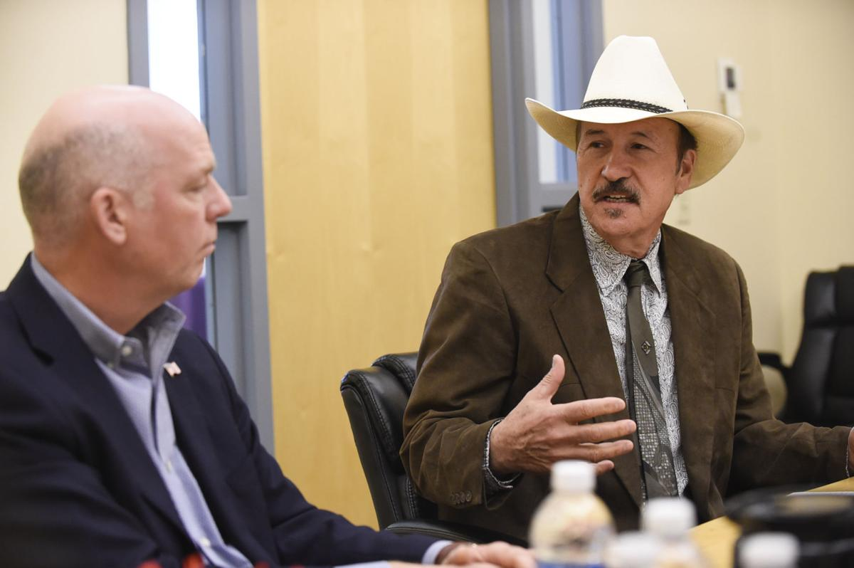 Rob Quist, right, answers a question morning during an Independent Record editorial board