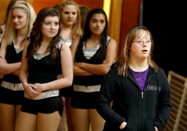 Hannah Rogers waits with the dance team