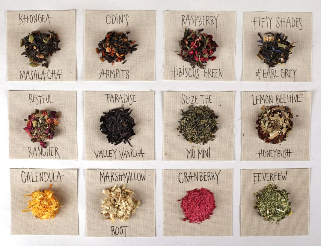 A variety of tea, herbs, and blends