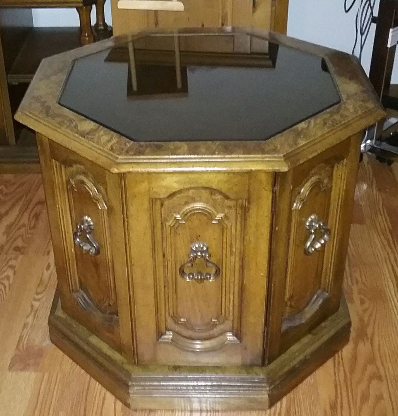 3 wood end tables. 2 with glass tops image 1